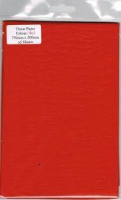 5 x Red Tissue Paper, Large Sheets - 750mm X 500mm - SC63